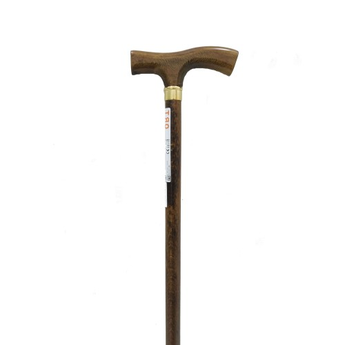 Wooden Walking Cane with Golden Ring